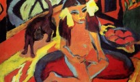 Girl with cat (Franzi) 1910. Oil on canvas. Ernst Ludwig Kirchner