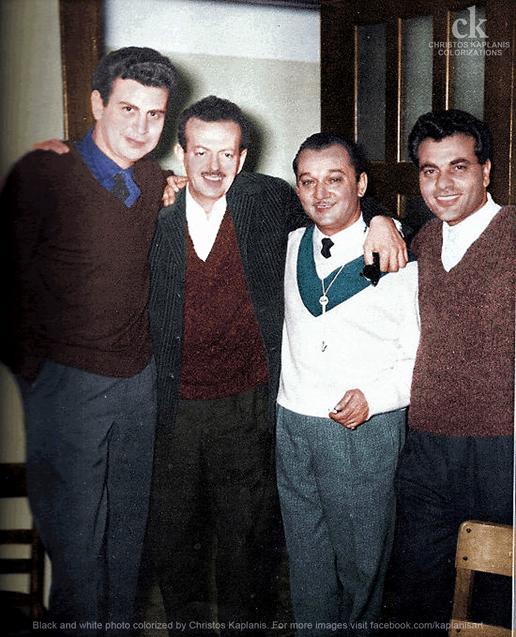 Αθήνα 1964. Θεοδωράκης,Τσιτσάνης,Χιώτης και Καζαντζίδης.