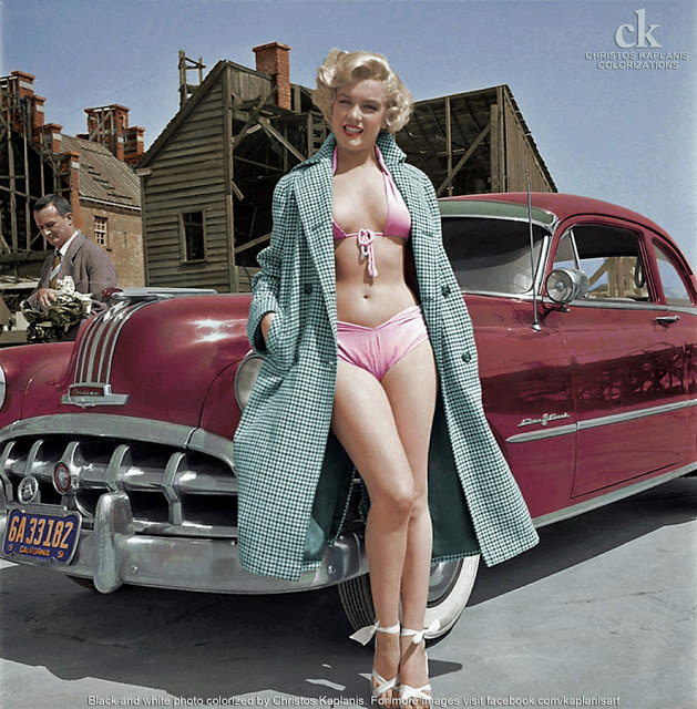 Marilyn Monroe posing next to a Pontiac Chieftain, 1951.