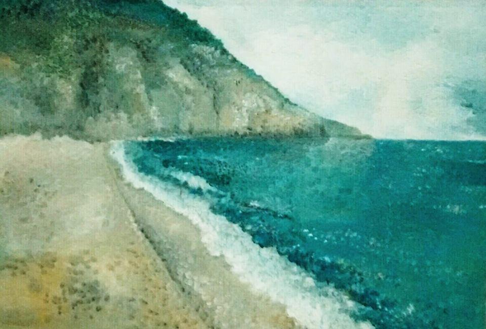 Παραλία Μύλος-1988 ελαιογραφία 85x125 cm